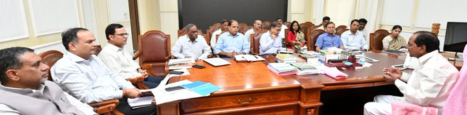 CM KCR held a review meeting with senior officials of Finance and other related Depts. in the backdrop of 15th Finance Commission's expected visit to the State. Asked the Finance Department to prepare State's requirements to be presented to the FC. Photo