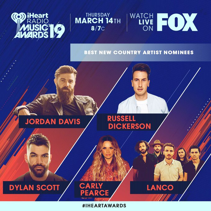 Best new country artist nominees!!! The 2019 @iHeartRadio Music Awards! #iHeartAwards More info and VOTE at: ภาพถ่าย