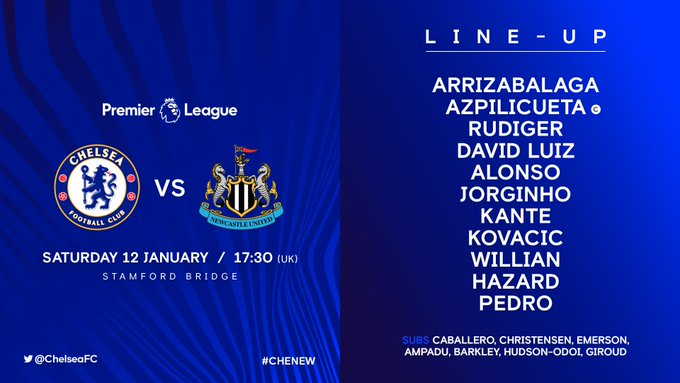 Here is our starting 11 to play Newcastle today! 👊 #CHENEW Photo