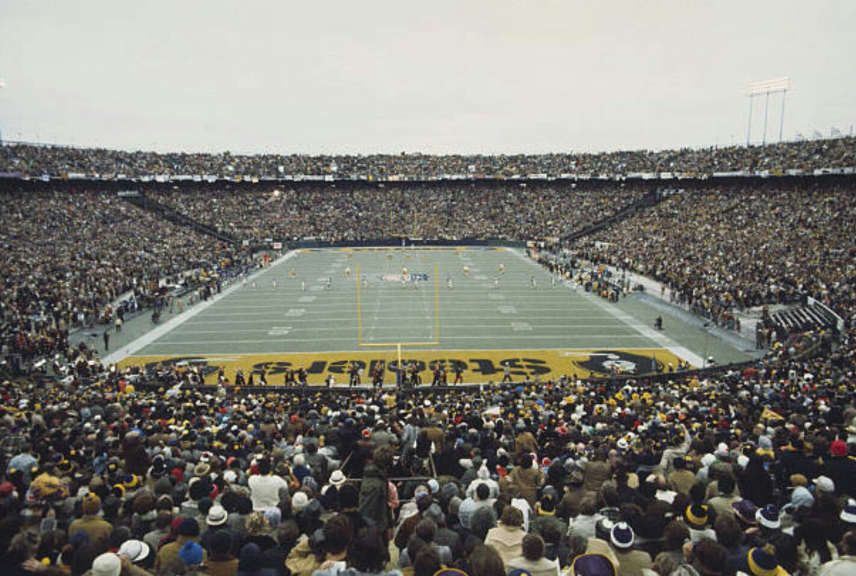 Super Bowl IX, Tulane Stadium, New Orleans, 44 years ago today.  The game, originally scheduled to be played at the brand new Louisiana Superdome, would've been the first indoor Super Bowl. However, Superdome construction delays forced the game to be moved to Tulane.