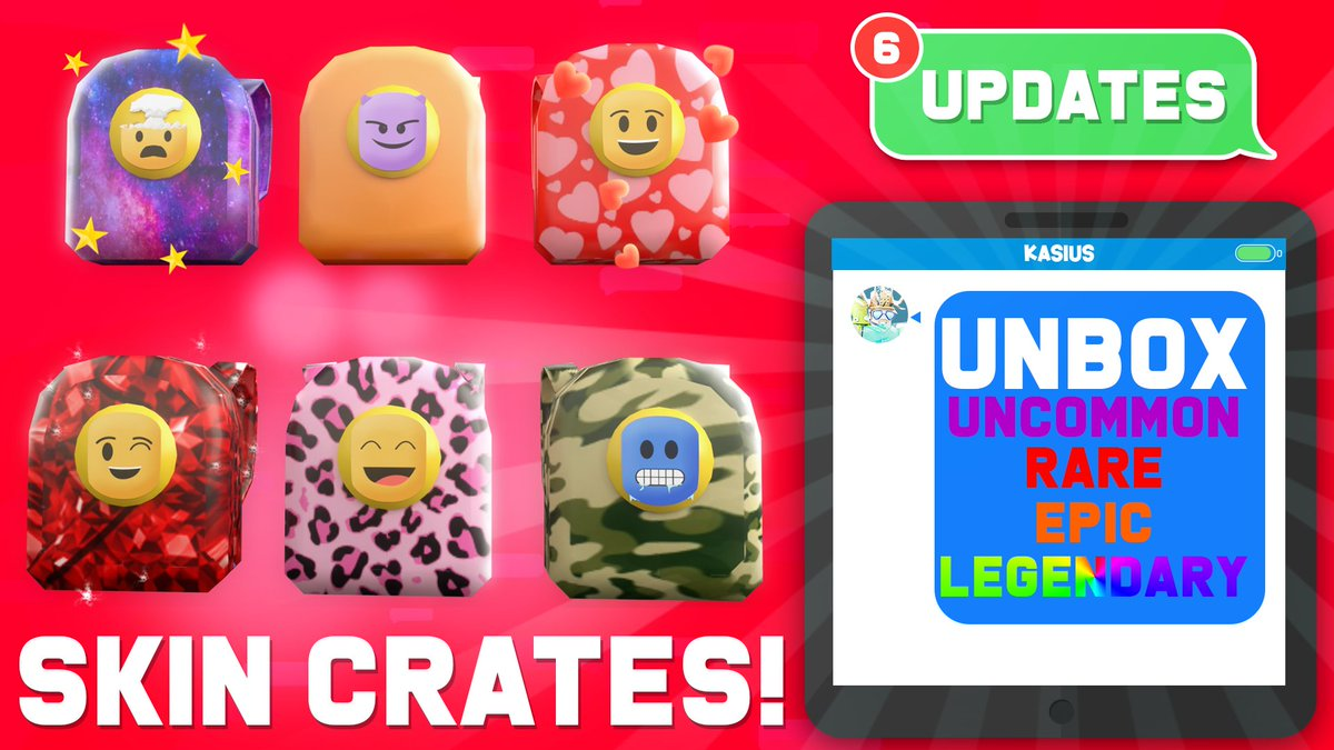 Roblox Epic Skins Ricky On Twitter Crates Are Now Live Unbox Uncommon Rare Epic And Legendary Skins For Your Backpack More Skin Crate Options And Trading For These Will Be Coming Soon Use Code