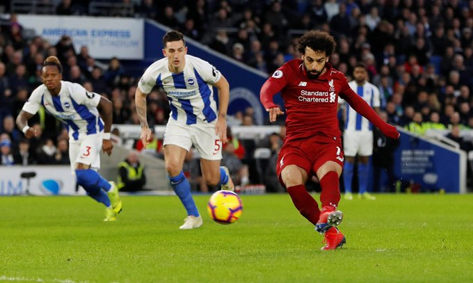 FULL-TIME Brighton 0-1 Liverpool The league leaders get back to winning ways thanks to Salah's spot-kick finish #BHALIV Photo