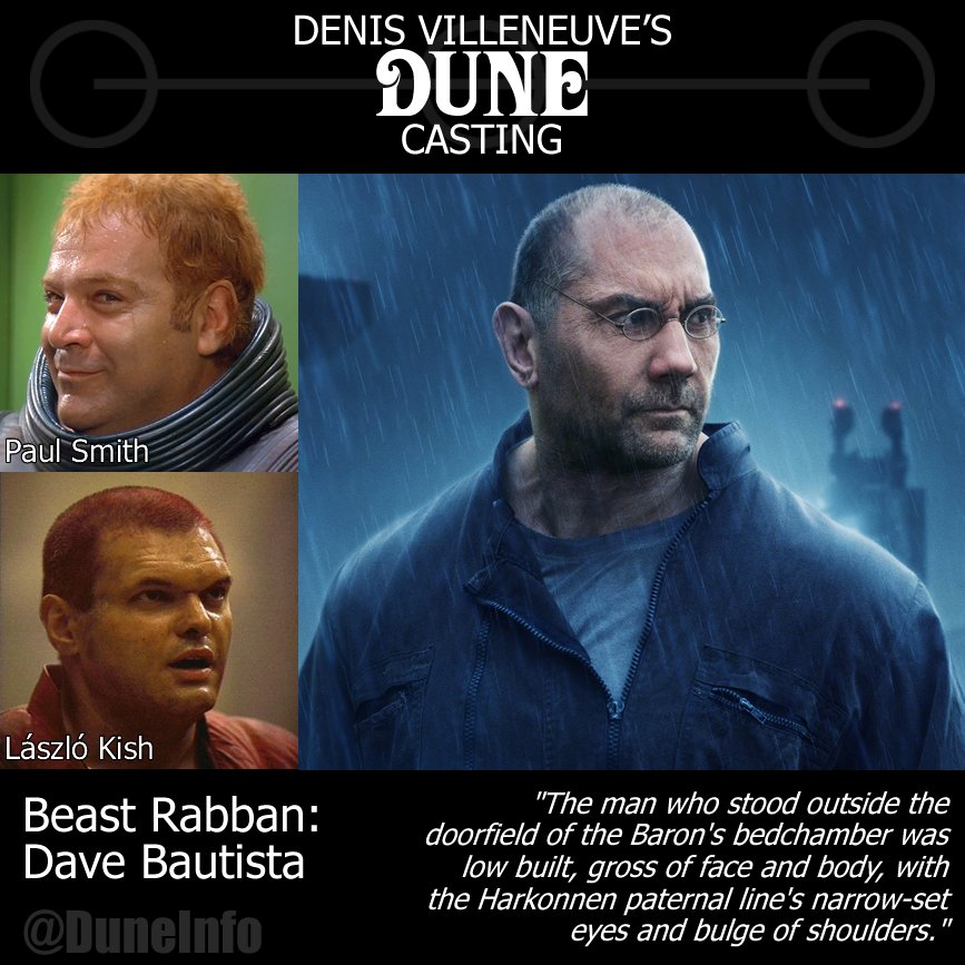 Dune Behindthescenes On Twitter I Knew That This Year Would Bring Lots Of Dune News But I Wasn T Expecting So Much So Soon On The 7th January We Learnt That Davebautista Would Play