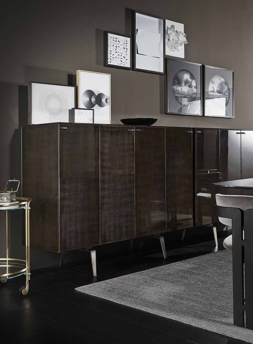 PANDORA DECÒ Sideboard by #PinuccioBorgonovo in collab with @gallotti_radice   Stunning glass sideboard, decorated with manual & exclusive processing. Bright black painted retro interior! Collection in numbered edition. ⠀ #GallottiRadice #GallottieRadice #GallottiAndRadice