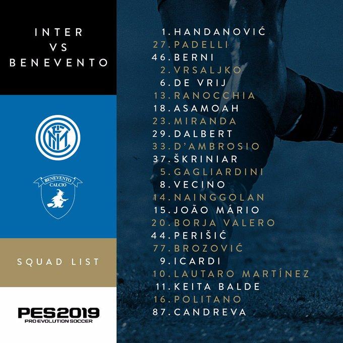 📋   23 pemain Nerazzurri yang siap menjalani laga #InterBenevento 👇 Foto