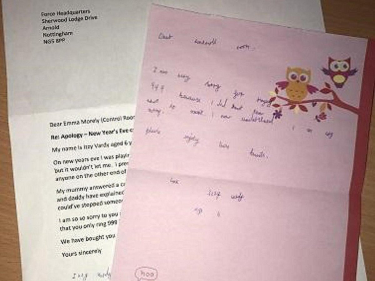 Six-year-old girl sends apology letter to police after accidentally calling 999 https://t.co/Yze6BnUM8j