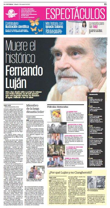 #EnPortada Fernando Luján hizo cine desde niño y actuó lo mismo con Pedro Infante en El mil amores 💞 que con Eugenio Derbez en Hombre al agua. Falleció a los 79 años 🎬 👉 Photo