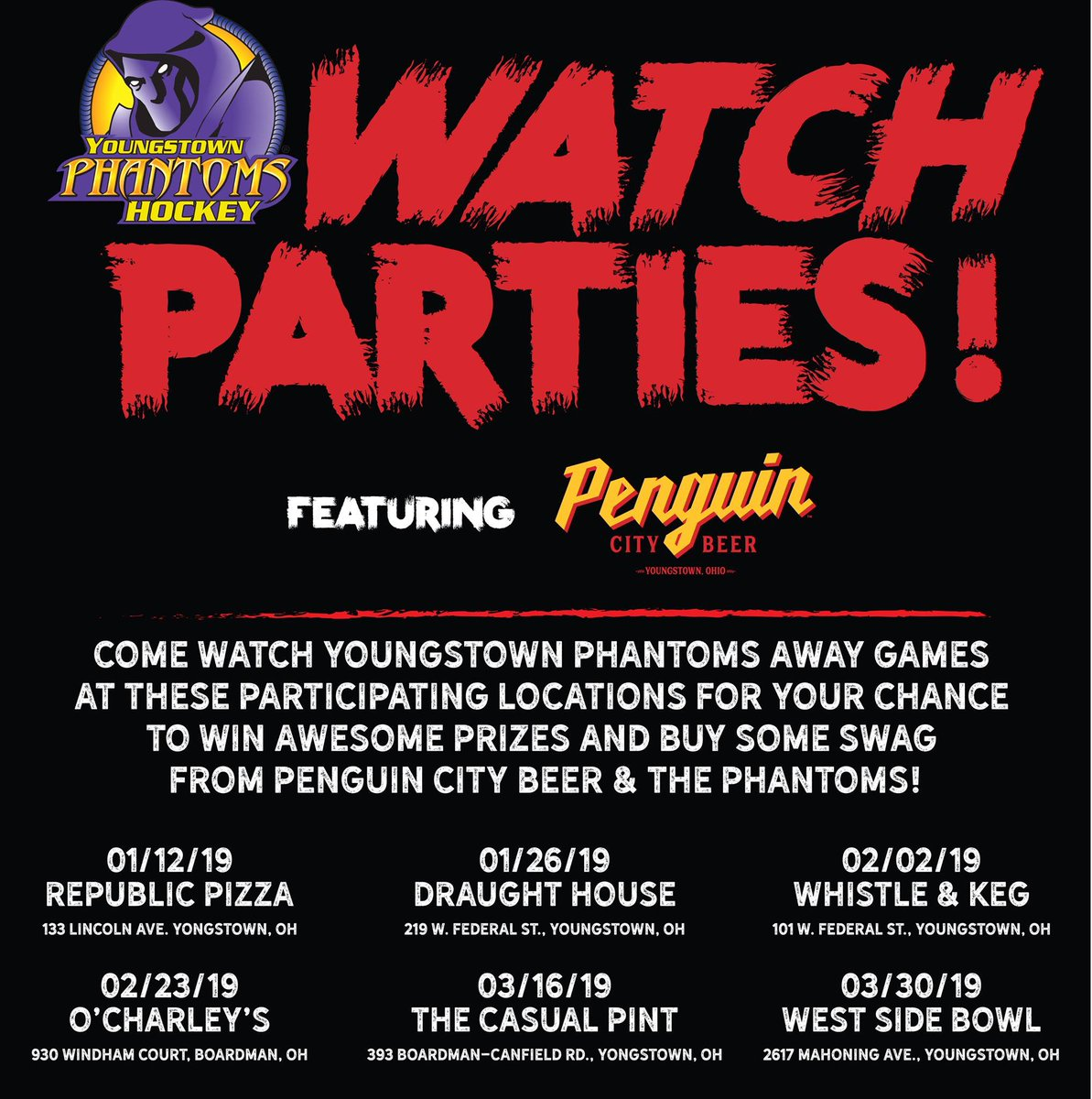 What to be able to watch some of our away games while enjoying @penguincitybeer Check out our watch parties! The first one is tonight at Republic Pizza!  #PenguinCity #PhantomsHockeypic.twitter.com/Vm54oT94T2
