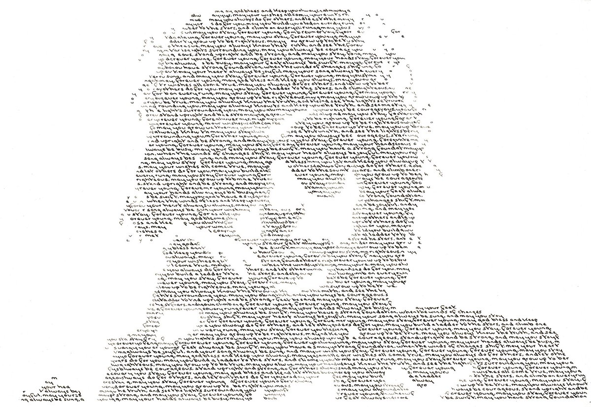 Bob Dylan handwritten text portrait using the lyrics to #ForeverYoung @Bob41Dylan #BobDylan <br>http://pic.twitter.com/JBNOb07rb2