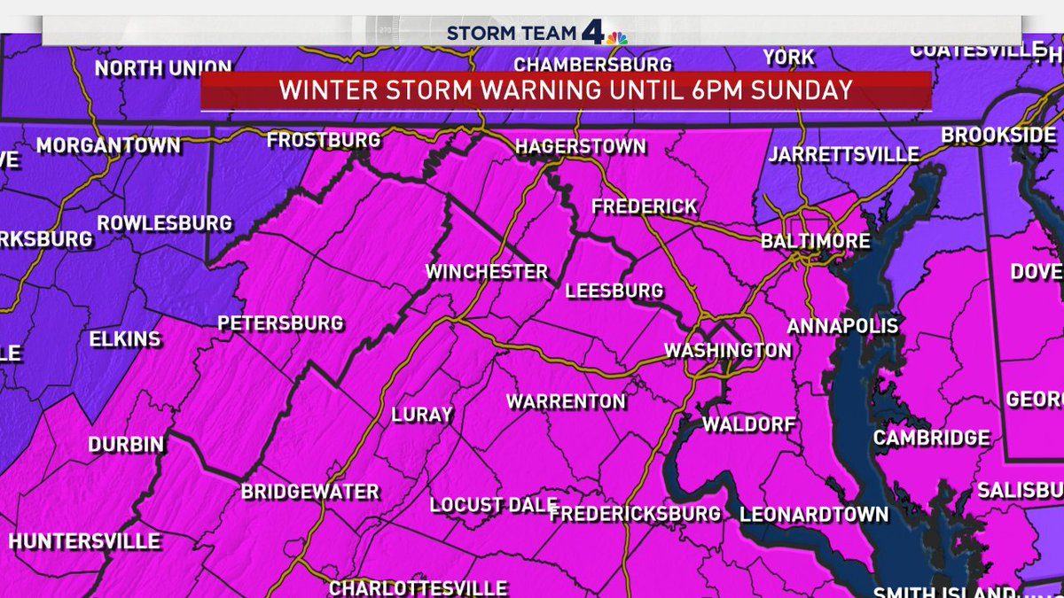 Snow is starting to stick to roads. It will be a good idea to avoid travel tonight and tomorrow as we continue to track snow, sometimes falling heavily. Everyone is under a serious winter storm warning (pink) until 6PM Sunday. DC/south 6-10&quot;, north 4 to 8&quot; <br>http://pic.twitter.com/w4cRwD6fAS