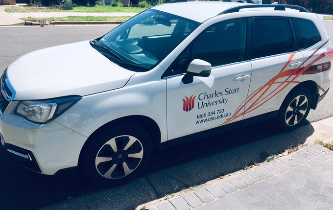 The @CharlesSturtUni work wheels almost ready to hit the freeway north to the capital for #ACHPER2019 Look forward to catching up with everyone 👍 Photo