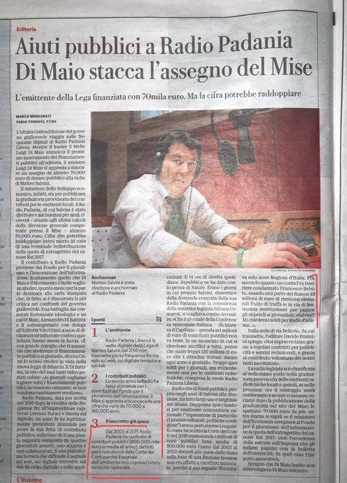 """Matteo #Salvini deve restituire anche € di #RadioPadania come ha contestato la Corte dei Conti. Ha usufruito di € annui definendosi """"Emittente comunitaria nazionale"""" quando il suo segnale raggiungeva solo 9 regioni. Come mai nessuno ne parla?🤔 @repubblica Photo"""