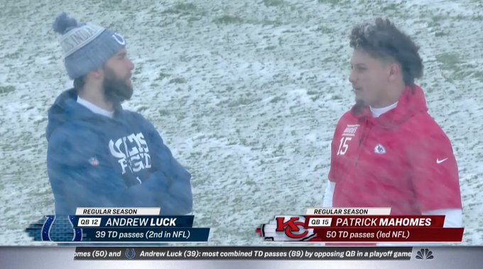 Luck and Mahomes prepare for battle on NBC. Join us to preview the matchup 👉 Photo