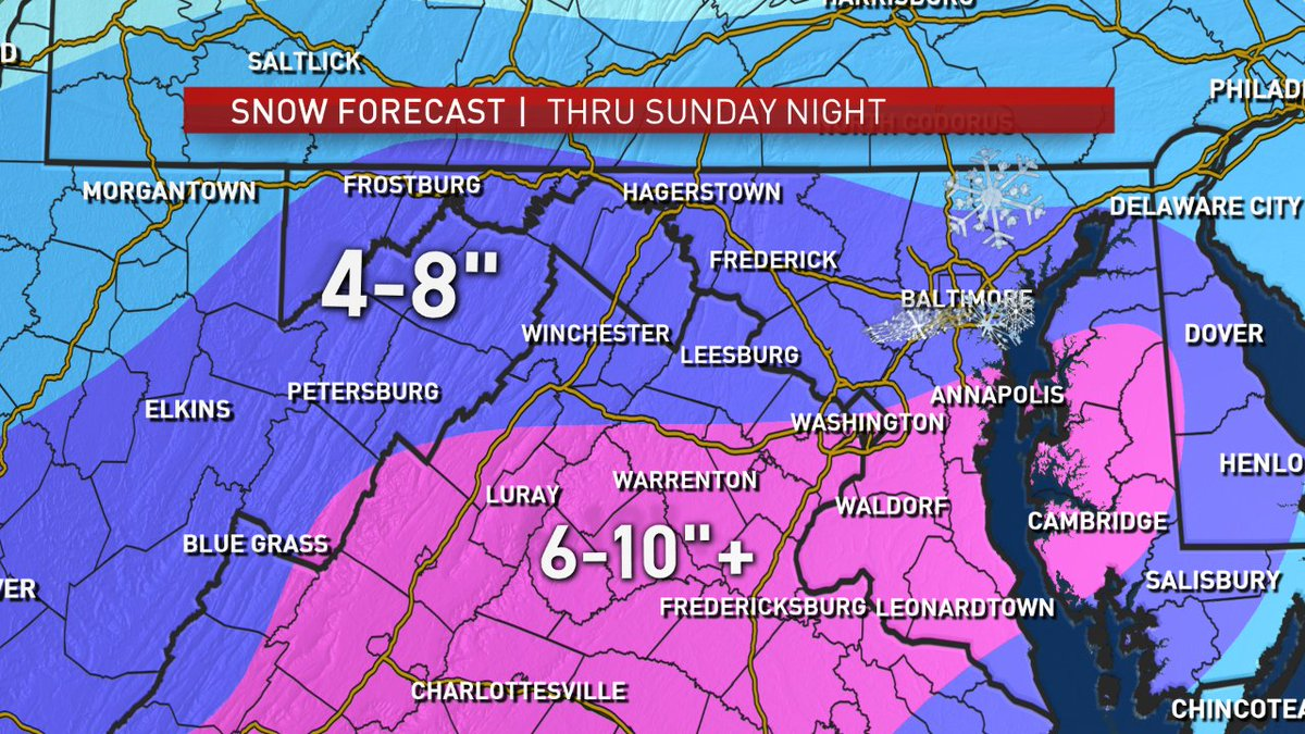 PLEASE RETWEET!!! Storm Team 4 continuing to raise the #snow totals. Everybody is under a winter storm warning through Sunday @nbcwashington<br>http://pic.twitter.com/E7COyUHeok