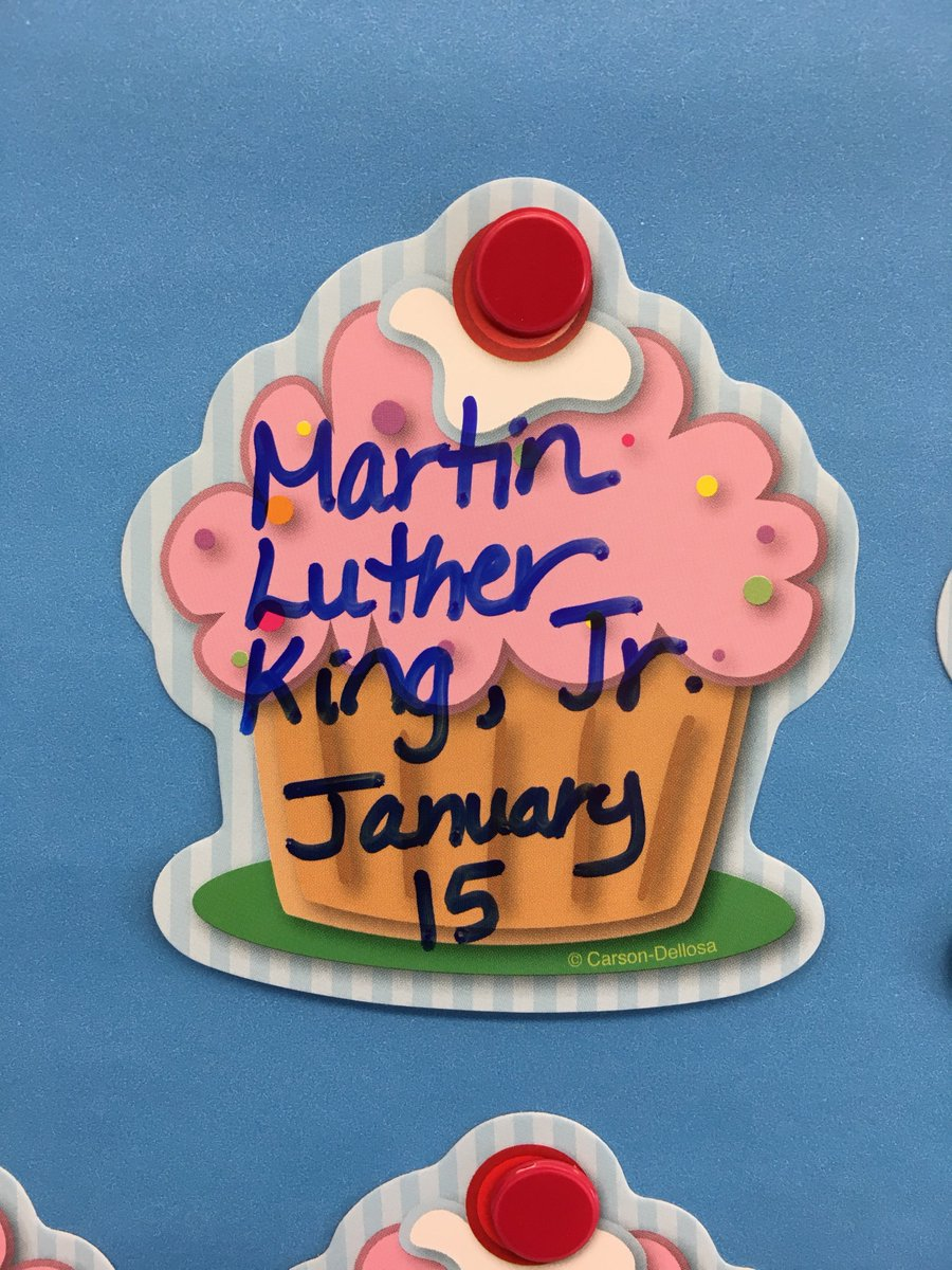 """After hearing the story """"Happy Birthday, Martin Luther King"""" the children insisted that MLK have a birthday cupcake on our calendar, just like the rest of the us. My kids demonstrate #kindness #care and #empathy on a daily basis + I am so lucky to be their teacher @brimmerandmay"""