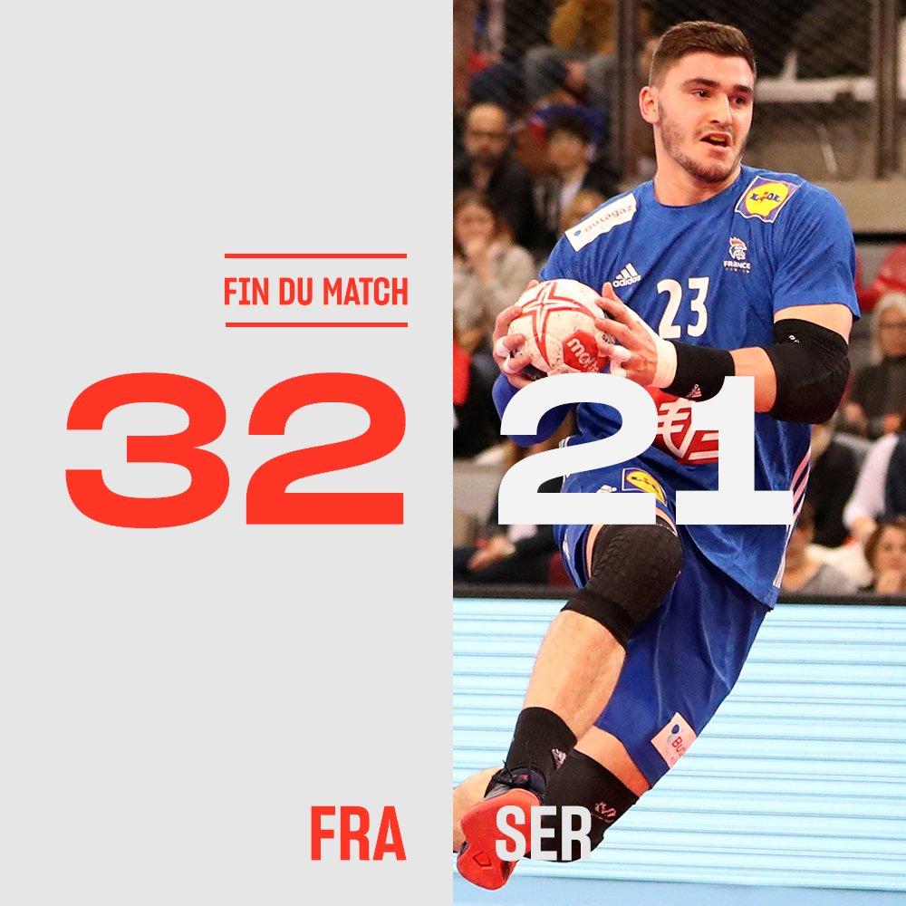Après leur victoire face au Brésil 🇧🇷 pour leur premier match des championnats du monde, les Bleus ont enchaîné face à la Serbie 🇷🇸 hier soir !  @FRAHandball  #Handball19 #BleusetFier