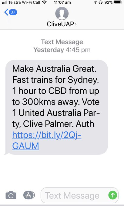 Received the Clive Palmer text. A question from the household - why isn't he offering a very fast Titanic? Photo