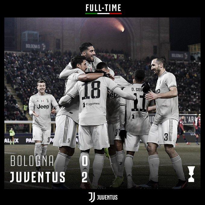 FULL-TIME! La Juventus batte il Bologna 0-2, esordisce nel migliore dei modi in #CoppaItalia e approda ai quarti di finale! #BolognaJuve 0️⃣ - 2️⃣ Foto