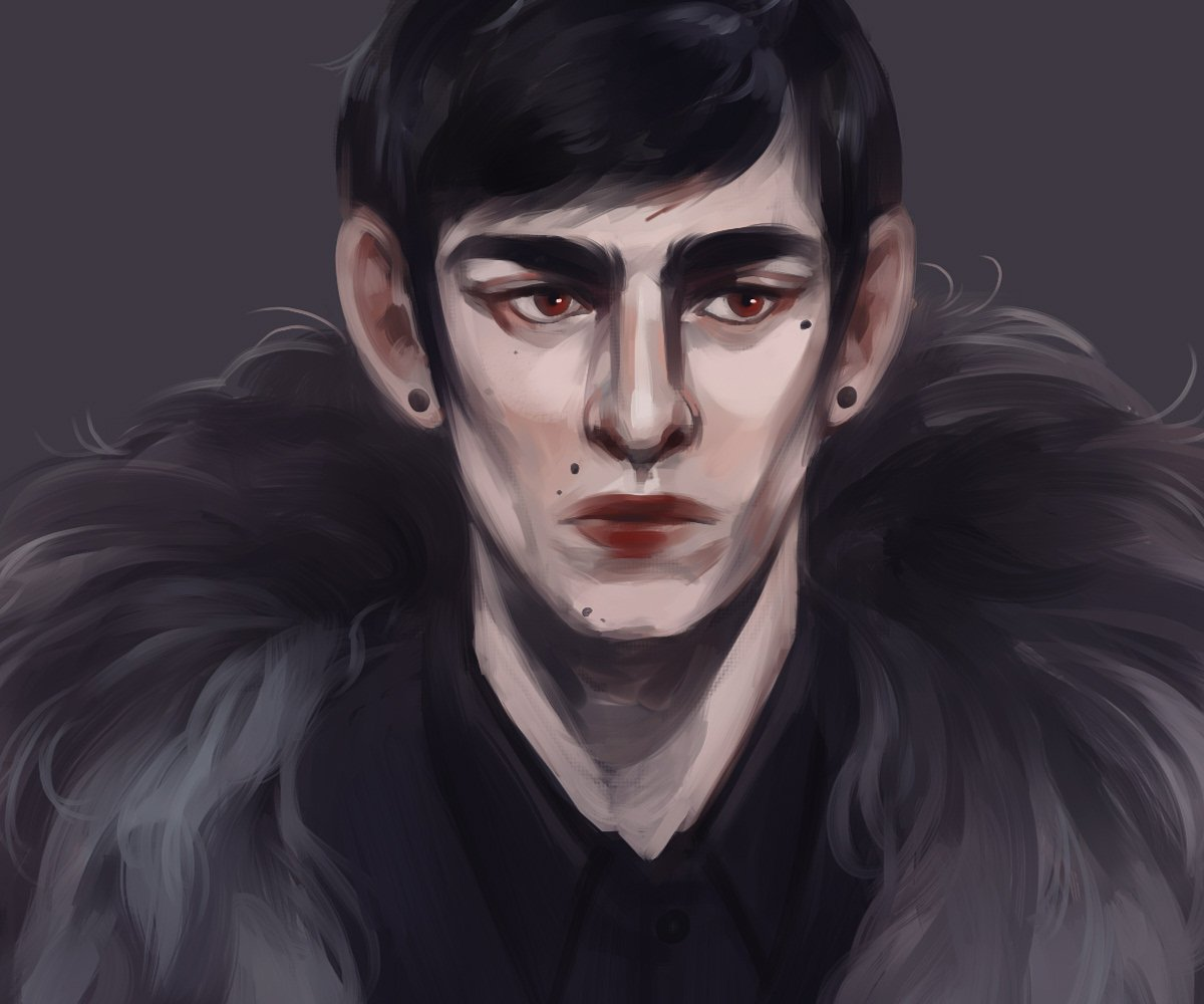 This is Lazar &amp; probably the most self indulgent OC dlkfjl He&#39;s an edgy vampire on a powertrip, but also wants to pet and soothe bats <br>http://pic.twitter.com/0WQTgSQZZP