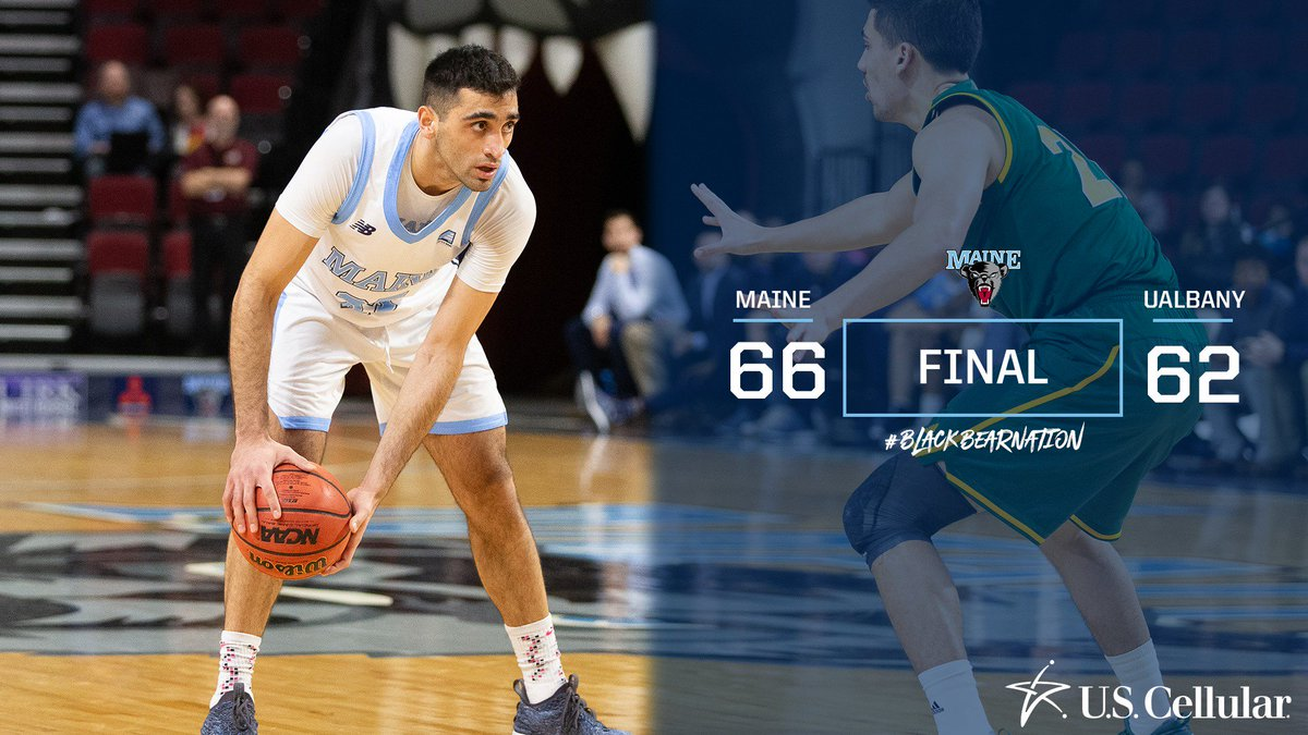 FILL 'EM‼️  Maine holds off Albany 66-62! The Black Bears connect on a season-high 12 3-pointers in the win.  #FillTheSteins   #BlackBearNation   #AEHoops