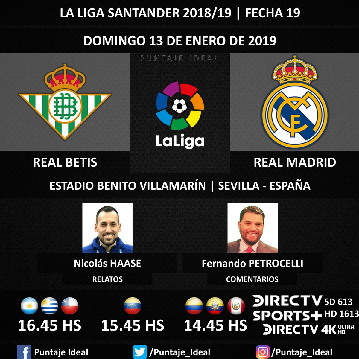 ⚽ #FútbolEnDIRECTV   #RealBetis vs. #RealMadrid 🎙 Relatos: @haasenico  🎙 Comentarios: @fpetrocelli  📺 TV: @DIRECTVSports Sudamérica (610 - 1610 HD) - #Torneos 📺 TV: #DIRECTV 4K Ultra HS (4000)  🤳 #SoySportista - #LaLiga 🇪🇸 - #RealBetisRealMadrid  Dale RT 🔃