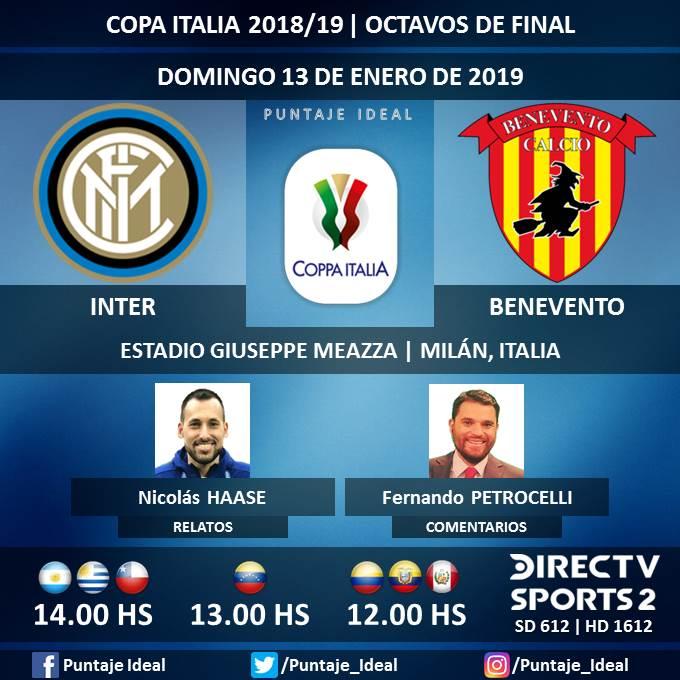 ⚽ #FútbolEnDIRECTV   #Inter vs. #Benevento 🎙 Relatos: @haasenico  🎙 Comentarios: @fpetrocelli  📺 TV: @DIRECTVSports 2 Sudamérica (612 - 1612 HD) - #Torneos  🤳 #SoySportista - #CopaItalia 🇮🇹 - #InterBenevento  Dale RT 🔃