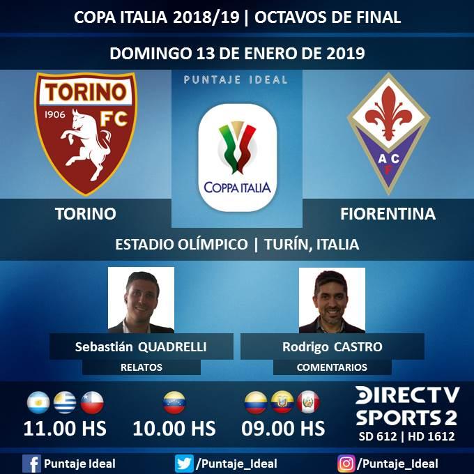 ⚽ #FútbolEnDIRECTV   #Torino vs. #Fiorentina 🎙 Relatos: @SebaQuadrelli  🎙 Comentarios: @rodrigojcastro  📺 TV: @DIRECTVSports 2 Sudamérica (612 - 1612 HD) - #Torneos  🤳 #SoySportista - #CopaItalia 🇮🇹 - #TorinoFiore Dale RT 🔃
