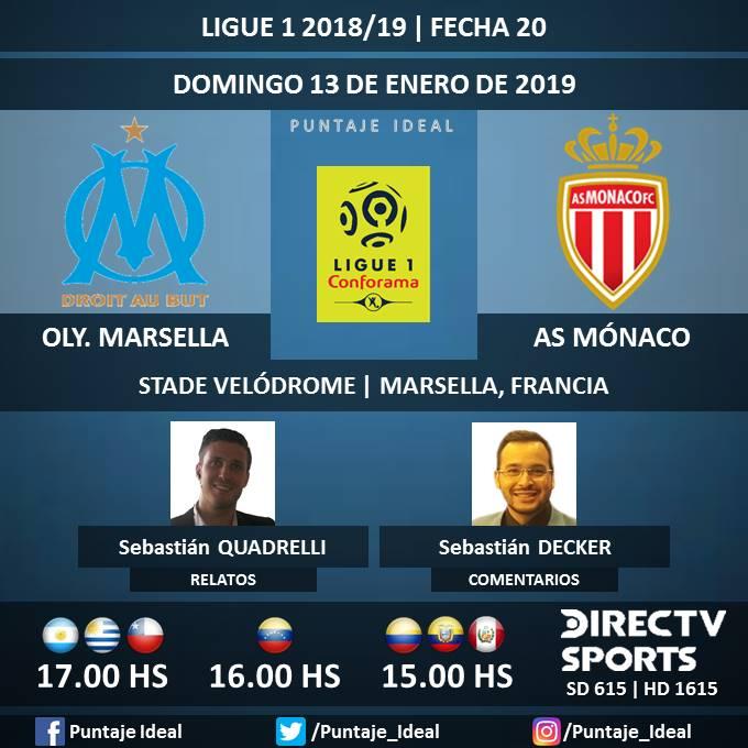 ⚽ #FútbolEnDIRECTV   #OlympiqueMarsella vs. #ASMónaco 🎙 Relatos: @SebaQuadrelli  🎙 Comentarios: @SebasDecker  📺 TV: @DIRECTVSports Sudamérica (615 - 1615 HD) - #Torneos 🤳 #SoySportista - #Ligue1 🇫🇷 - #OMASM  Dale RT 🔃