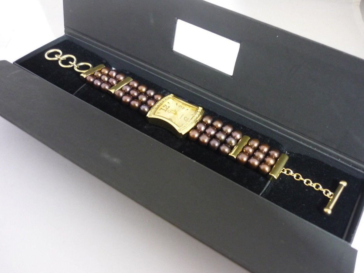 Stunning Unusual Las Genuine Bronze Pearl Topaz Sterling Silver Watch