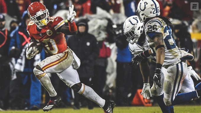 Chiefs blow by the Colts! ✌️ Kansas City will host their first-ever conference championship game! Photo