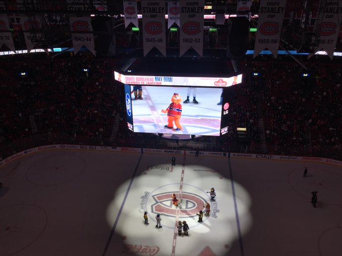 A mascot dance contest during first intermission at Bell Centre to celebrate Youppi!'s birthday #Habs #HabsIO Photo