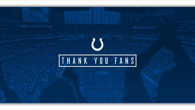 From 1-5 to a playoff run, you never gave up on us. Thank you, #Colts fans. We'll be back. Foto