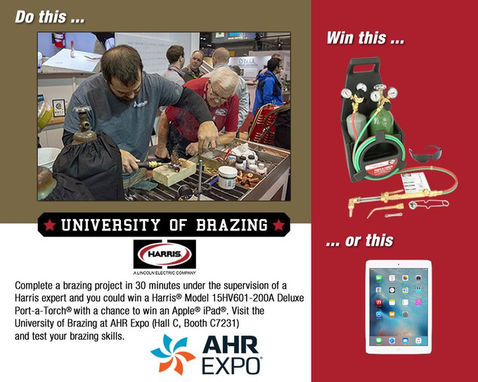 80% of learning takes place outside the classroom. 100% of winning takes place in our classroom. Visit the Harris University of Brazing at #AHRExpo in booth C7231 to measure your skills and win some cool stuff. Photo