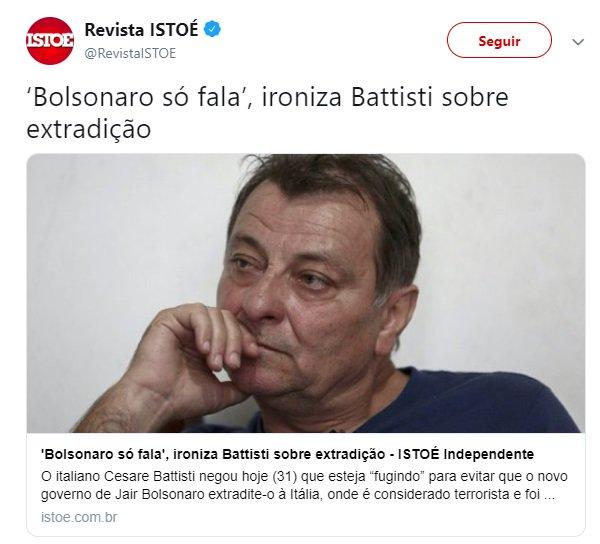 Bolsonaro só fala, ironizou Cesare Battisti sobre extradição. Parece que o jogo virou, né, assassino vagabundo? Photo