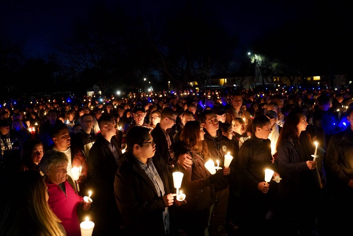 Tonight we honored @CityofDavis Police Officer Natalie Corona and found solace in one another. Let's make sure this moment matters. We will show the power of community can rise above the most despicable acts of violence. #FiatLux<br>http://pic.twitter.com/75ciHa0Rxi
