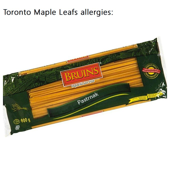 #Leafs fans could do without seeing David #Pastrnak for the next little 🍝 Photo