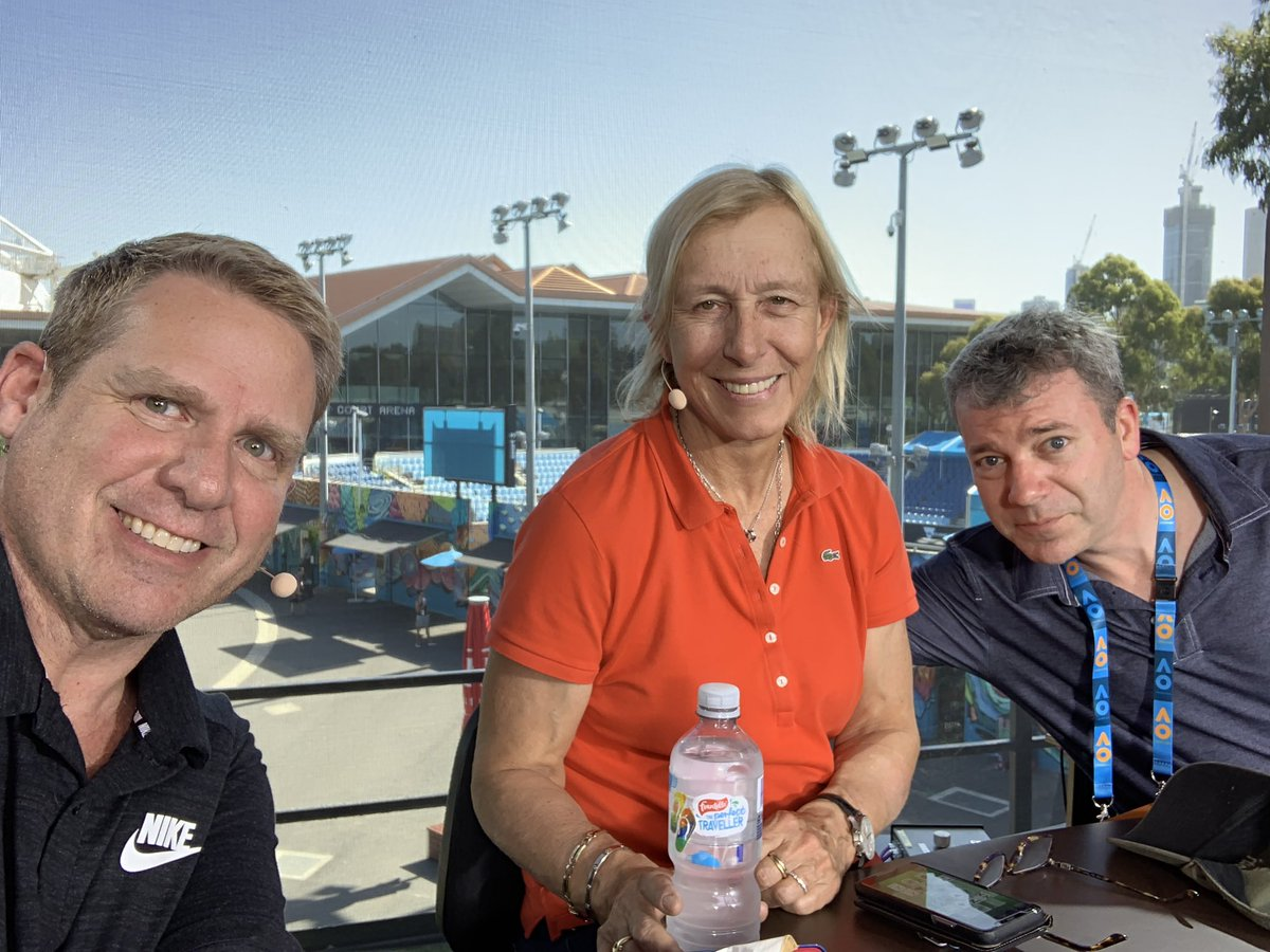 Hearsing with @Martina & @jon_wertheim. We only do it once. @TennisChannel #AusOpen2019