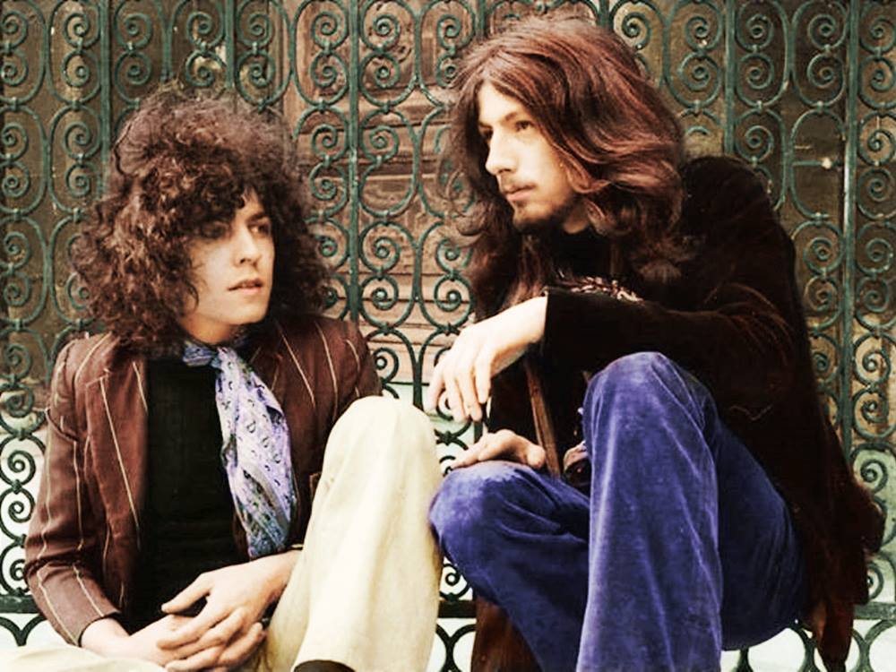 MARC BOLAN ~ Tyrannosaurus Rex 1969 Jan. 13th - For The Lion And The Unicorn John Peel &amp; Friends, Queen Elizabeth Hall David Bowie was support (as mime) Unicorn album:  https://www. dailymotion.com/video/x23nu7c  &nbsp;   (Photo not this gig; by Jean Louis Rancurel, colorized) #marcbolan<br>http://pic.twitter.com/B7O8mhm020