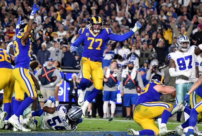 Whicker: Rams' big fellows carry the day in the playoff win over Dallas Cowboys Photo