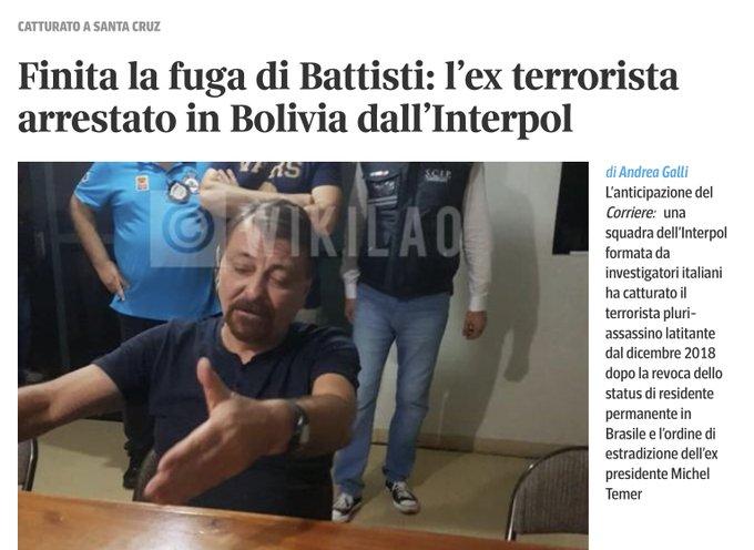 E poi non ne parlo più! Ma perché scrivono ex terrorista se lo è sempre stato? #CesareBattisti #BuonaDomenica cazzo! Foto