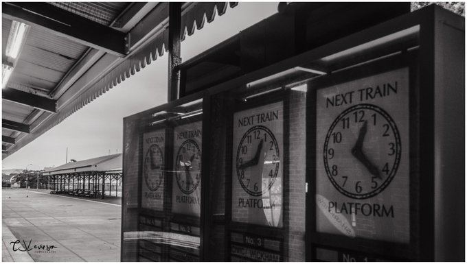 Clocks in the old Newcastle station #blackandwhite #streetphotography Photo