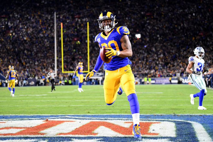 Todd Gurley is the first player in Rams franchise history to rush for 100+ yards in both of his first two playoff appearances: #LARams Photo