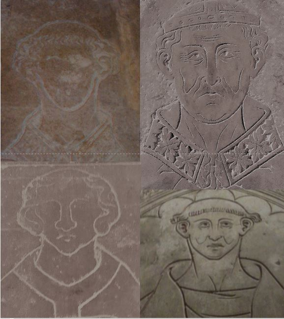 Monks, abbots, canons, priests hairdress (Frisur) on medieval incised slabs . Lower last (bearded) Renaissance #Colmar #Rouen #Chalons #MuseeCluny #MuseeLouvre #Cotentin<br>http://pic.twitter.com/hauaAdcpNz