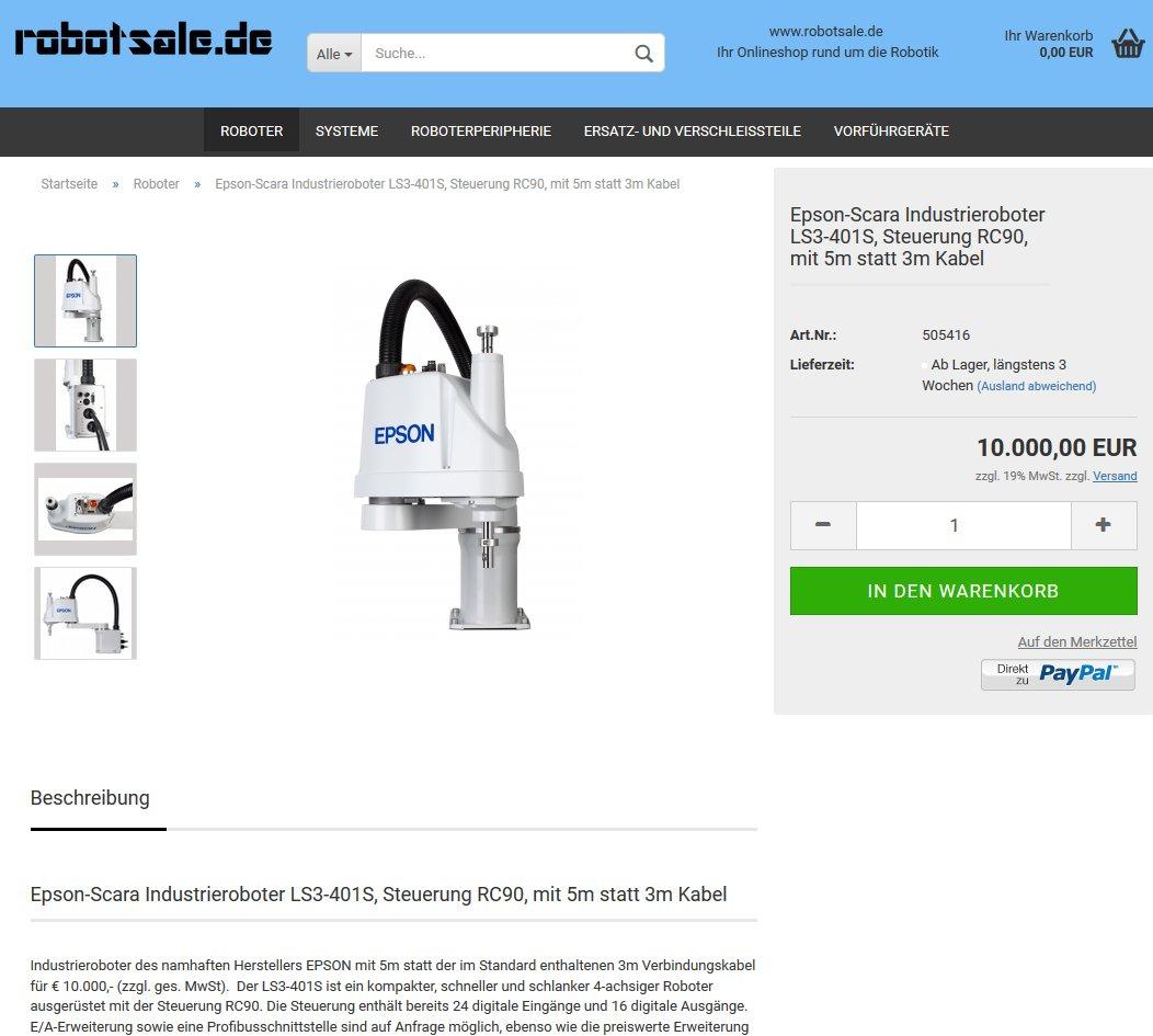 #Epson-#Scara #Industrieroboter LS3-401S, Steuerung RC90, 5m statt 3m Kabel für 10.000€ zzgl. MwSt im #Onlineshop: https://www.robotsale.de/product_info.php?info=p2_epson-scara-industrieroboter-ls3-401s--steuerung-rc90--mit-5m-statt-3m-kabel.html… @robotsale_de