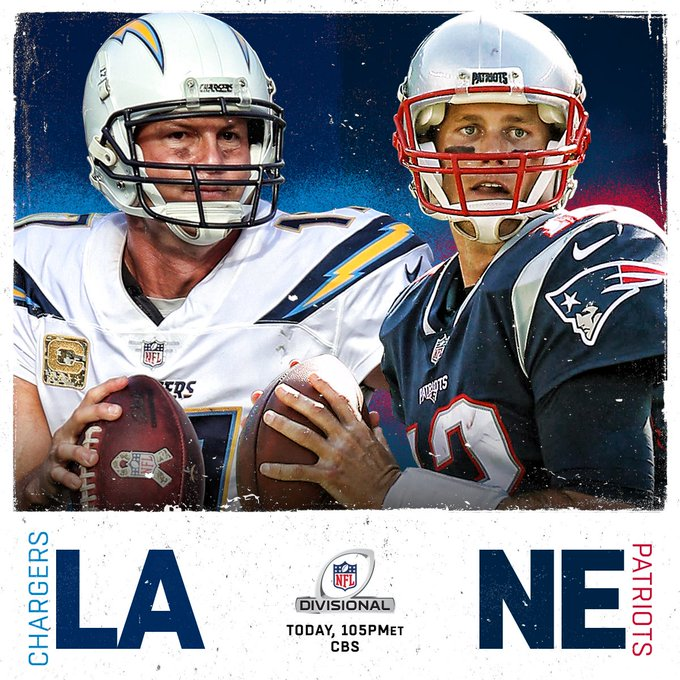 Rivers & Brady. @Chargers & @Patriots. SOON. 📺: #LACvsNE. 1:05pm ET on CBS. #NFLPlayoffs Photo