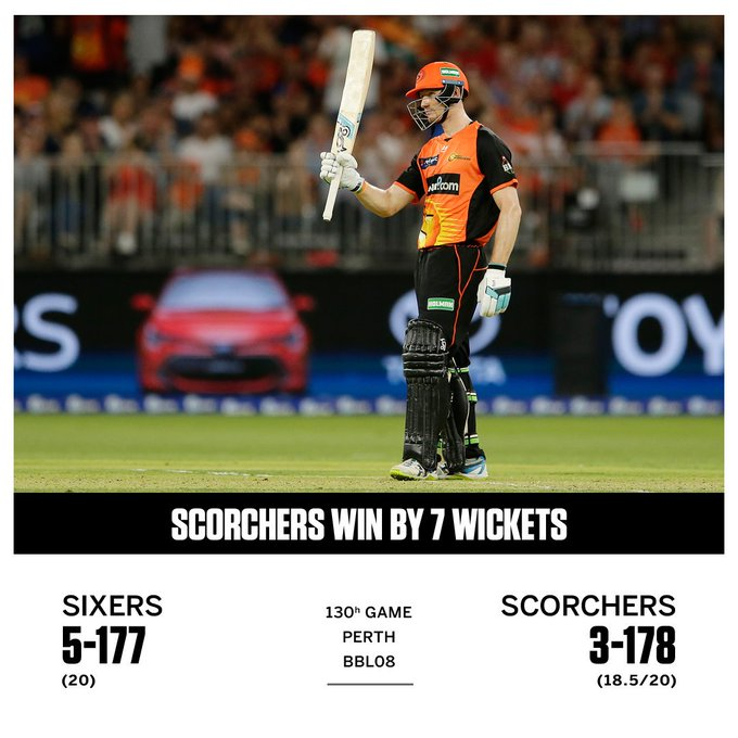 Perth Scorchers win by 7 wickets thanks to fifties by Cameron Bancroft and Ashton Turner #BBL08 Photo