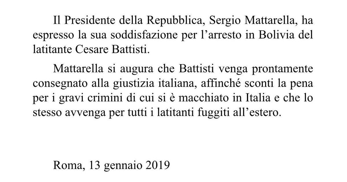 Il Presidente #Mattarella ha espresso la sua soddisfazione per l'arresto in #Bolivia del latitante #CesareBattisti
