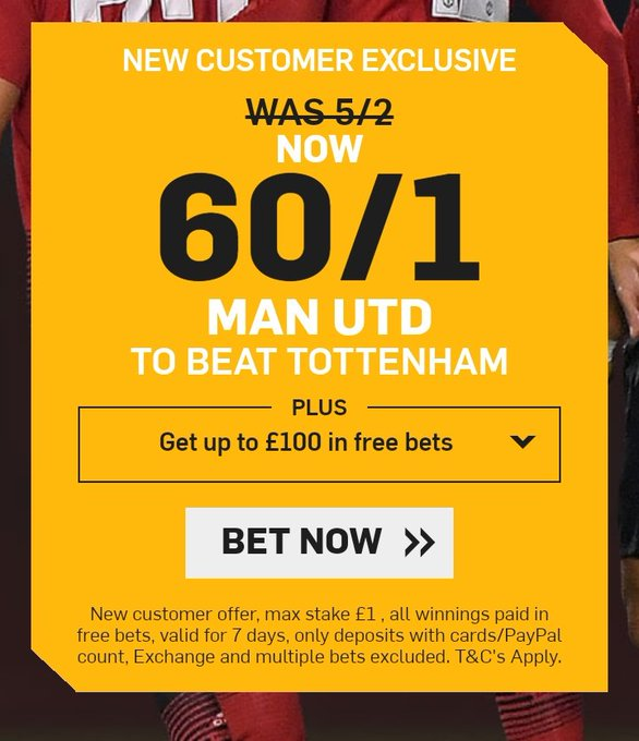 Worth a quid! Man United 60/1 to beat Spurs! (🔞, t&c apply) Bet Here ➡️ Foto