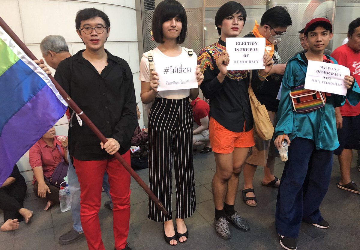 #Thailand: #LGBTI activists join pro-democracy protest in #Bangkok to call for elections #เลื่อนเลือกตั้ง