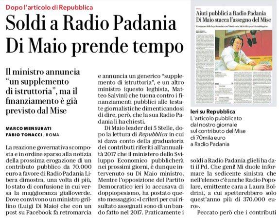 Facciamo chiarezza sui fondi stanziati a #RadioPadania; invece su quelli non attribuiti a #RadioRadicale purtroppo per TUTTI, intendo compagni iscritti al @PartitoRadicale e non, mi sembra sia tutto tristemente chiaro. Photo